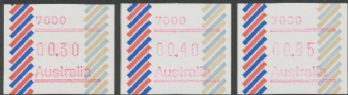 Australian Framas: Barred Edge Button Set 30c, 40c, 85c: Post Code 7000 Hobart